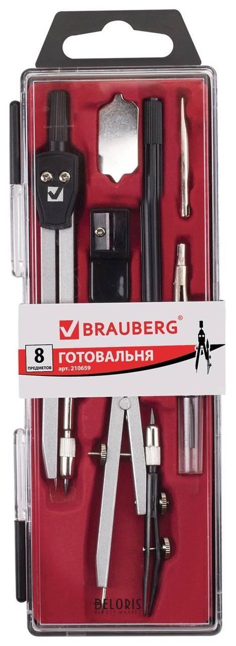 Готовальня Architect, 8 предметов: циркуль + кронциркуль, вставки + держатель, отвёртка, точилка, грифель Brauberg