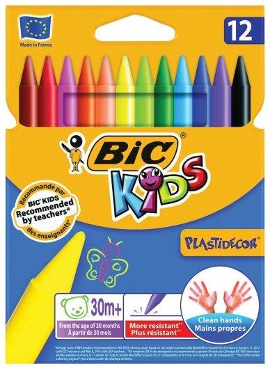Мелки пластиковые 12 цветов Plasttidecor  Bic