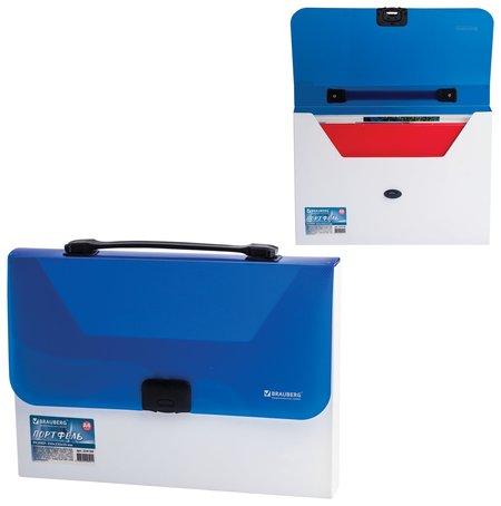 """Портфель пластиковый """"Income"""", А4 (350х235х35 мм), без отделений, фактура диагональ, белый/синий  Brauberg"""