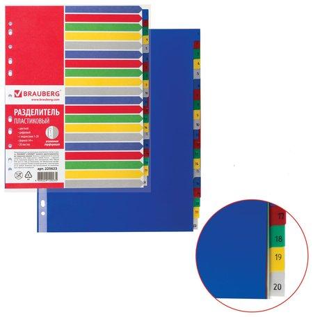 Разделитель пластиковый, А4+, 20 листов, цифровой 1-20, оглавление, цветной  Brauberg