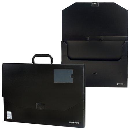 """Портфель пластиковый большого формата А3 (445х310х30 мм), """"Портфолио"""", без отделений, черный  Brauberg"""