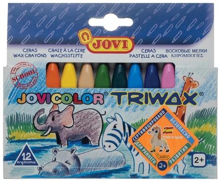 Восковые мелки, 12 цветов, трехгранные, картонная коробка  Jovi