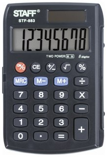 Калькулятор карманный Staff Stf-883 (95х62 мм), 8 разрядов, двойное питание  Staff