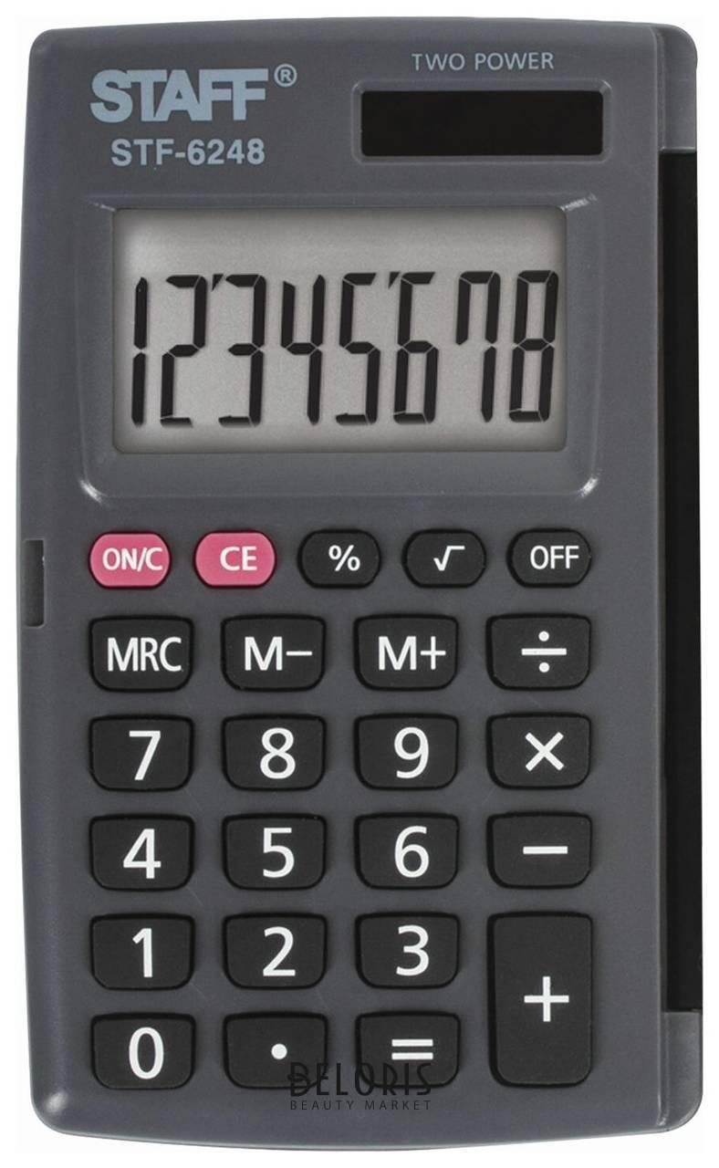 Калькулятор карманный Staff Stf-6248 (104х63 мм), 8 разрядов, двойное питание Staff