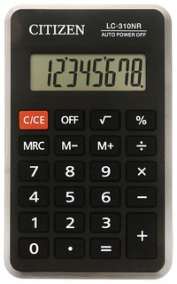 Калькулятор карманный Citizen Lc310nr (114х69 мм), 8 разрядов, питание от батарейки   Citizen