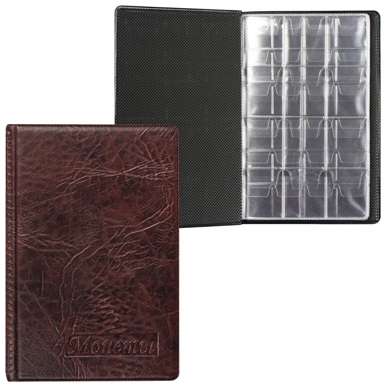 Альбом для монет, 115х170х10 мм, для 108 монет, 2+4+2 листа (карманы 23х25+32х40+52х54 мм)  Топ-спин