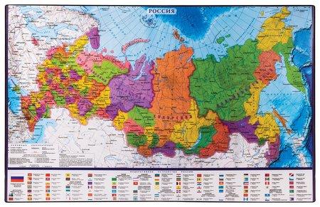 Коврик-подкладка настольный для письма (590х380 мм), с картой России  Brauberg