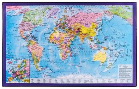 Коврик-подкладка настольный для письма (590х380 мм), с картой мира   Brauberg