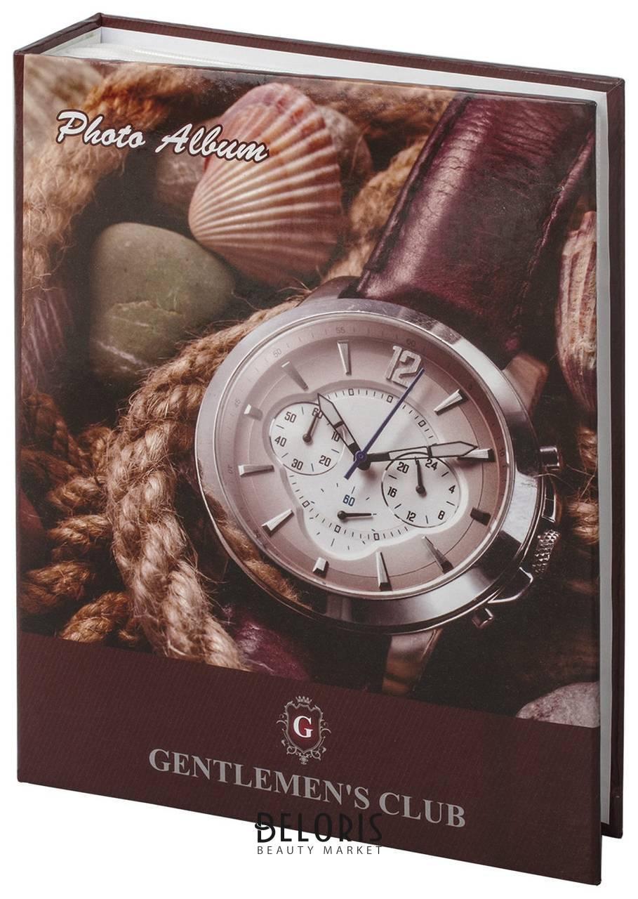 Фотоальбом Brauberg на 200 фотографий 10х15 см, твердая обложка, Часы, коричневый Brauberg