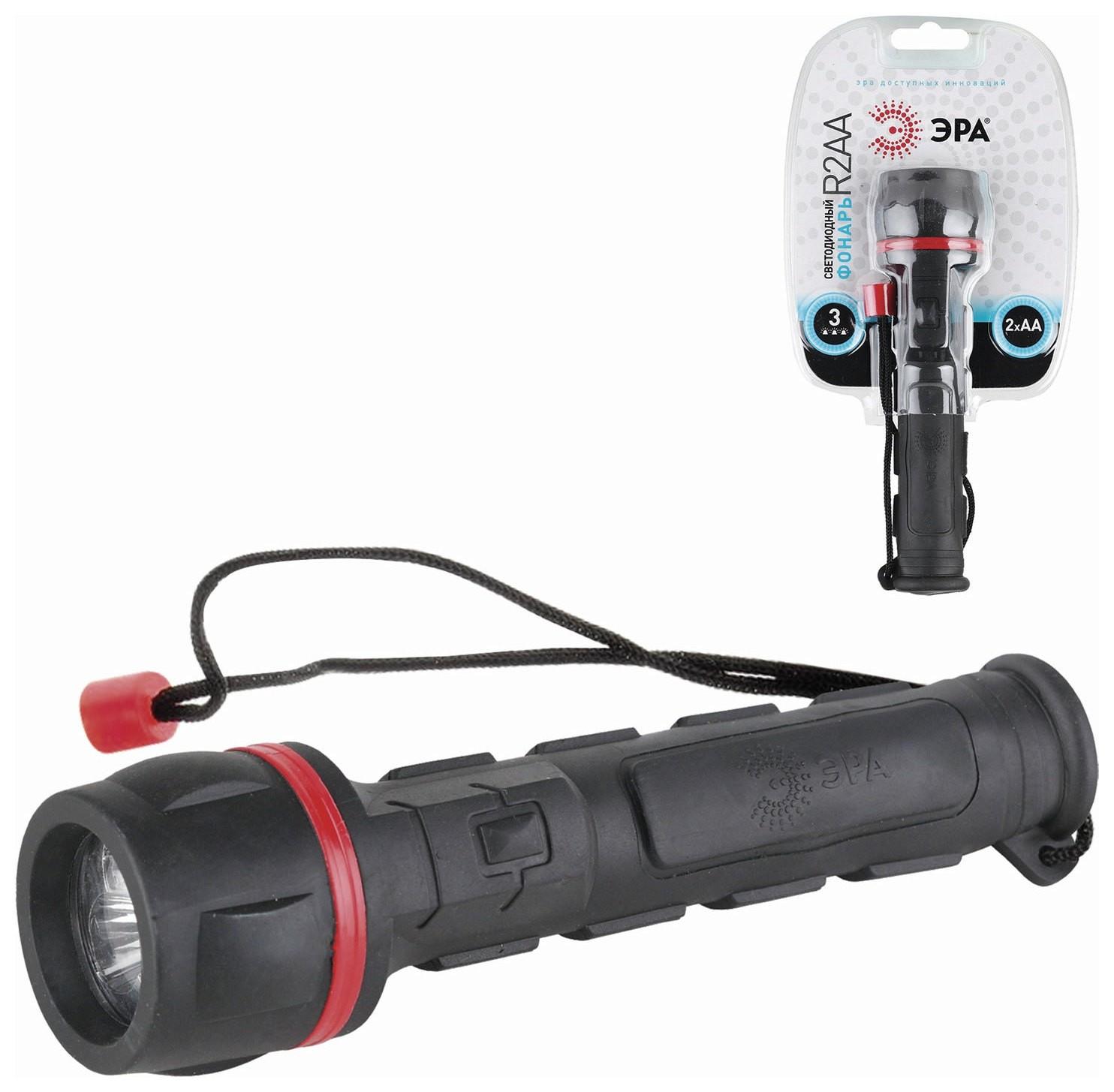 Фонарь светодиодный ЭРА R2AA, 3 x LED, обрезиненный корпус, питание 2xAA (в комплект не входят)  Эра