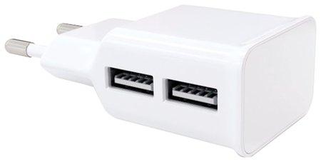 Зарядное устройство сетевое (220В) RED LINE NT-2A, 2 порта USB, выходной ток 2,1 А, белое  Red line