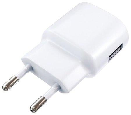 Зарядное устройство сетевое (220 В) RED LINE ТС-1A, кабель для IPhone (iPad) 1 м, 1 порт USB, выходной ток 1 А, белое  Red line