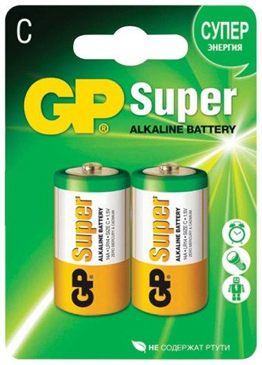 Батарейки GP Super, С (LR14, 14А), алкалиновые, комплект 2 шт., в блистере  GР