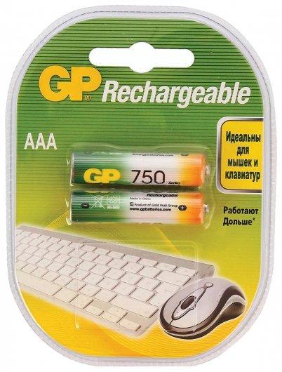 Батарейки аккумуляторные GP, AAA, Ni-Mh, 750 mAh, комплект 2 шт., в блистере  GР