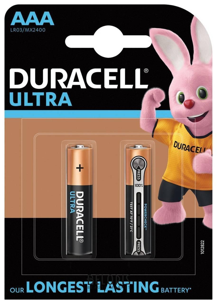 Батарейки DURACELL Ultra Power, AAA (LR03, 24А), алкалиновые, 2 шт., в блистере Duracell