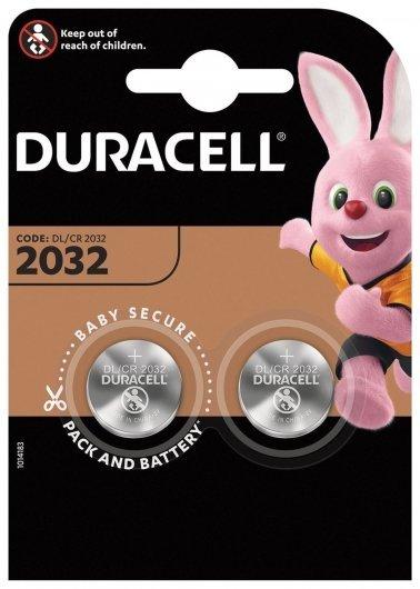 Батарейки Duracell Lithium, Cr2032, литиевые, комплект 2 шт., в блистере  Duracell