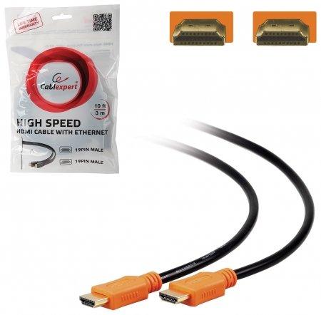 Кабель HDMI, 3 м, GEMBIRD, M-M, экранированный, для передачи цифрового аудио-видео  Cablexpert