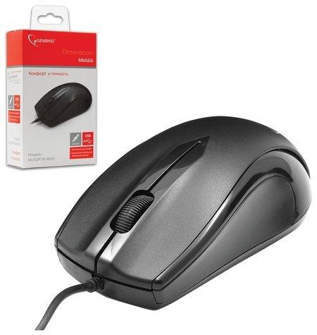 Мышь проводная Gembird Musopti9-905u, Usb, 2 кнопки + 1 колесо-кнопка, оптическая, черная  Gembird