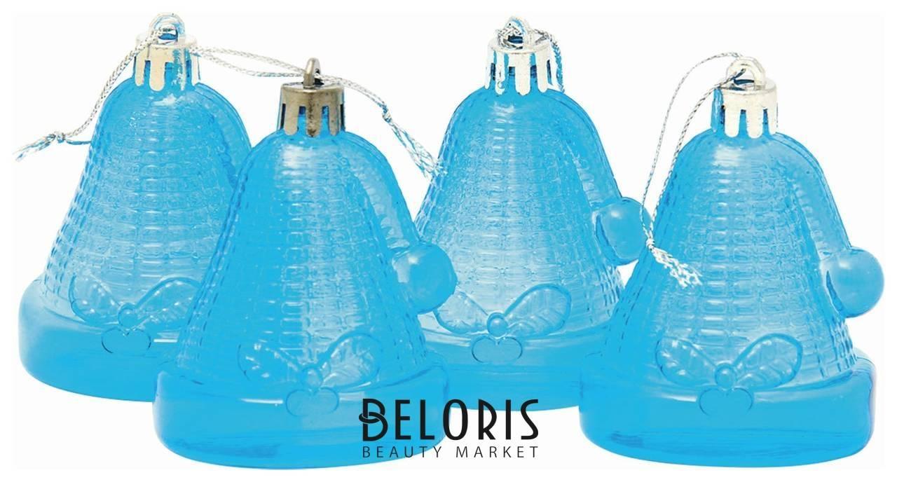 Украшения елочные подвесные Колокольчики, набор 4 шт., 6,5 см, пластик, полупрозрачные, голубые Веселый хоровод