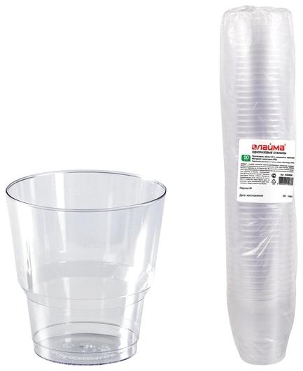 """Одноразовые стаканы 200 мл, КОМПЛЕКТ 50 шт., прозрачные, """"КРИСТАЛЛ"""", ПС, холодное/горячее  Лайма"""