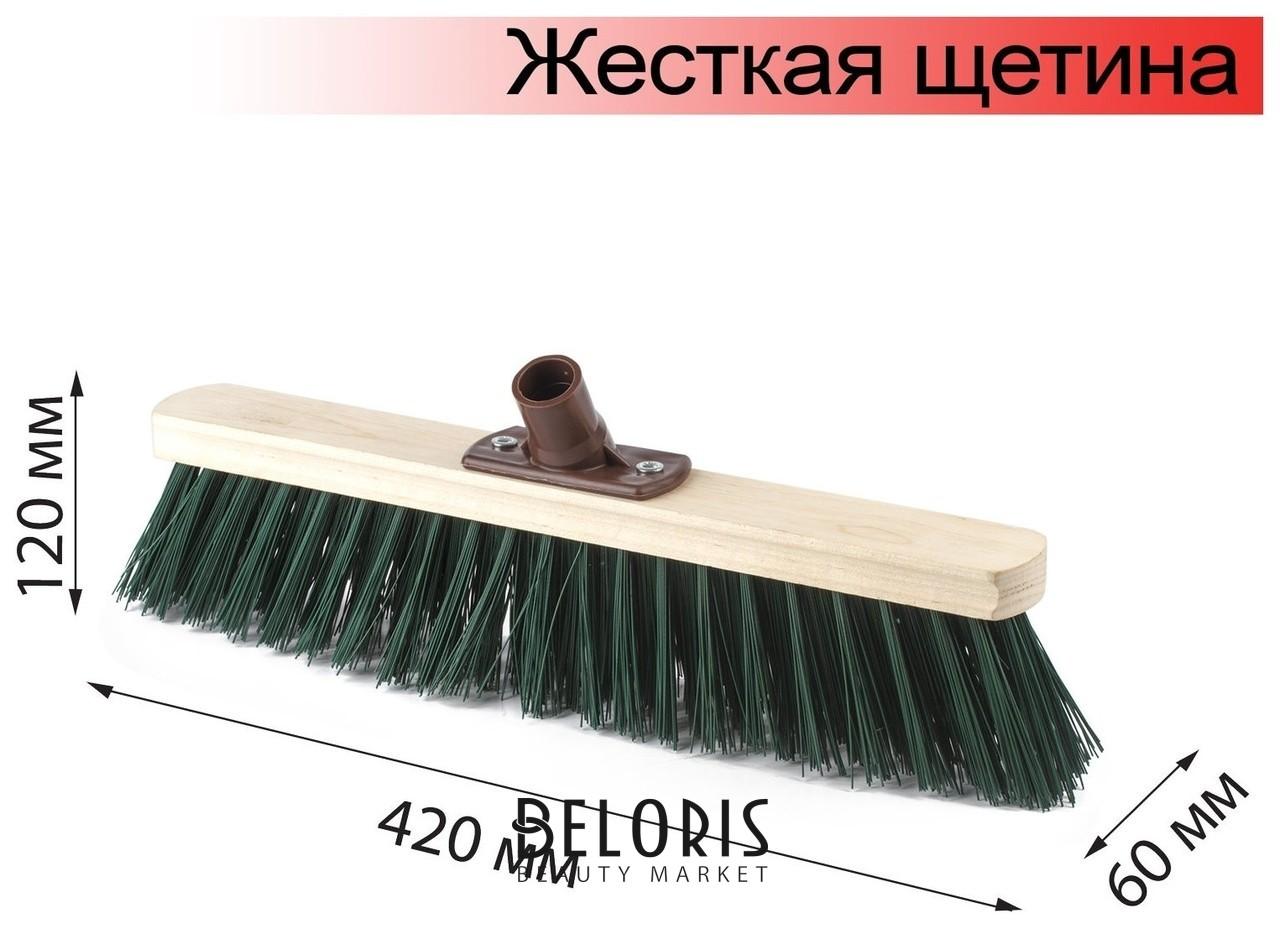 Щетка для уборки техническая, ширина 40 см, жесткая щетина 8 см, дерево, еврорезьба Лайма