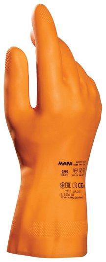 Перчатки латексные MAPA Industrial/Alto 299, хлопчатобумажное напыление, размер 8 (M), оранжевые  Mapa