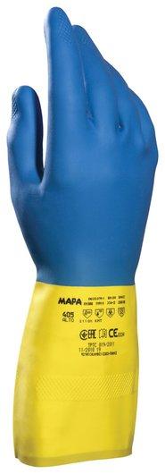 Перчатки латексно-неопреновые MAPA Duo Mix/Alto 405, хлопчатобумажное напыление, размер 7 (S), синие/желтые  Mapa