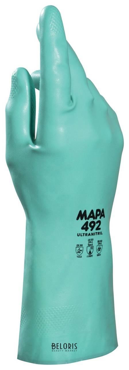 Перчатки нитриловые MAPA Ultranitril 492, хлопчатобумажное напыление, размер 7 (S), зеленые Mapa