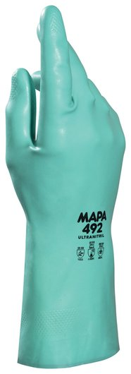 Перчатки нитриловые MAPA Ultranitril 492, хлопчатобумажное напыление, размер 9 (L), зеленые  Mapa