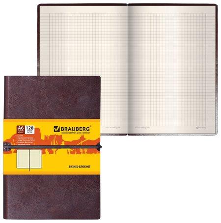 "Блокнот малый формат (100х150 мм) А6, ""Western"", 128 л., гладкий кожзам, резинка, клетка, коричневый  Brauberg"