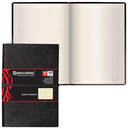 """Блокнот малый формат (100х150 мм) А6, """"Black Jack"""", 128 л., гладкий кожзам, резинка, клетка, черный  Brauberg"""