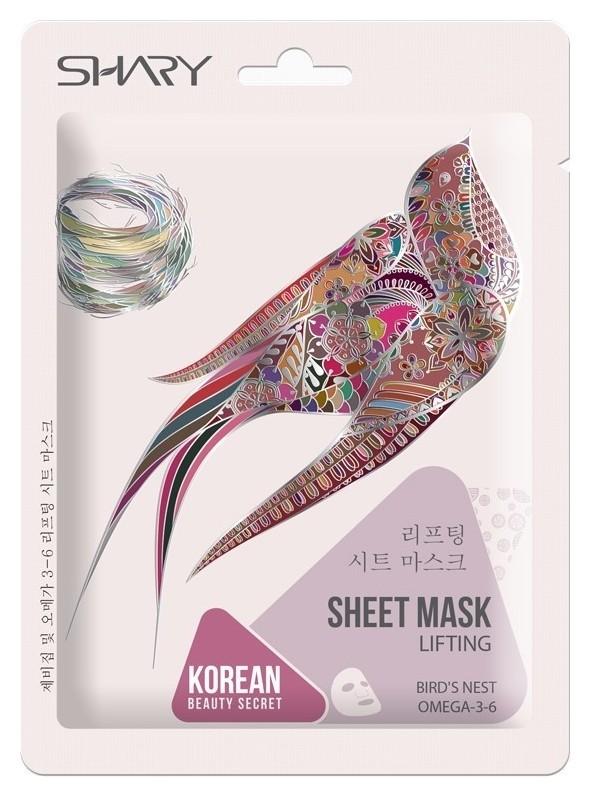 Лифтинг-маска тканевая Экстракт ласточкиного гнезда и ОМЕГА-3-6  Shary