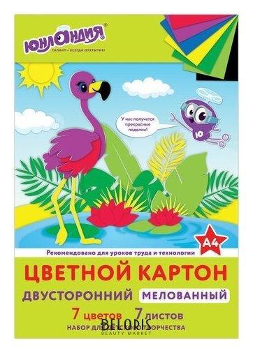 Картон цветной А4 Фламинго Юнландия