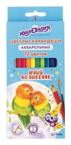 """Карандаши цветные акварельные 12 цветов """"Юный волшебник""""  Юнландия"""