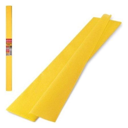 Цветная бумага крепированная плотная Желтая  Brauberg