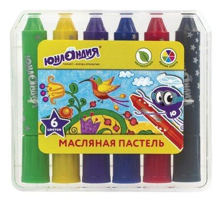 """Масляная пастель """"КОЛИБРИ"""", НАБОР 6 цветов, яркие цвета, пластиковый корпус, европодвес  Юнландия"""