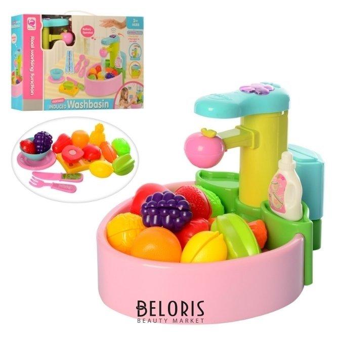 Игровой набор Раковина для мытья посуды на батарейках с аксессуарами (льется вода) Junfa toys