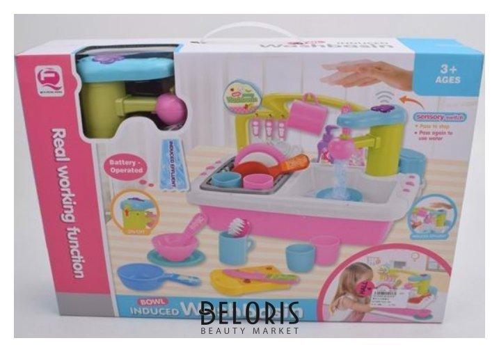 Игровой набор Раковина для мытья посуды на батарейках, льется вода Junfa toys