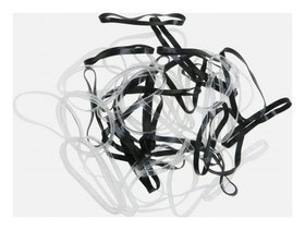 Резинки для волос силиконовые черные/белые midi, 50 шт  Dewal