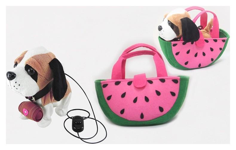 Собачка Бассет на поводке в сумочке  КНР Игрушки