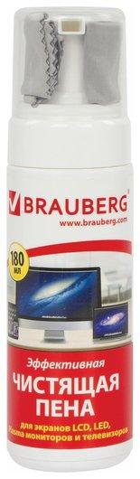 Чистящий набор для экранов всех типов и оптики, комплект: салфетка и пена  Brauberg