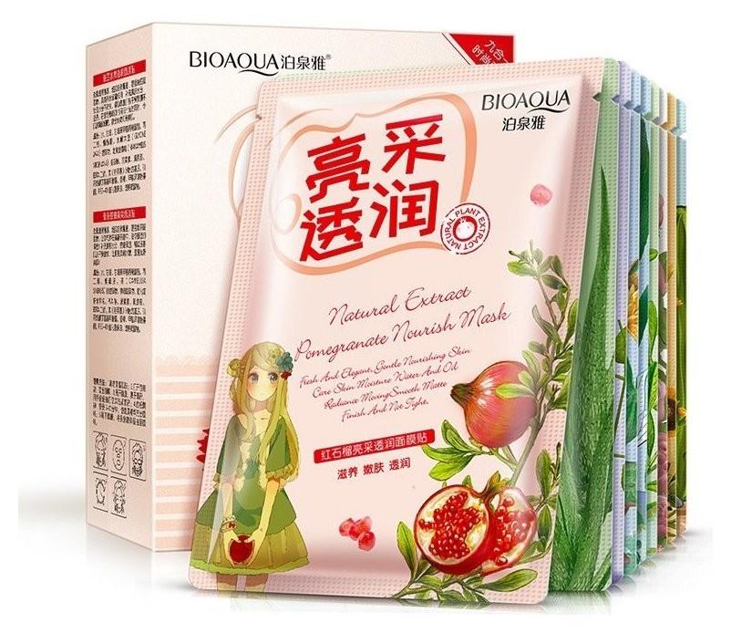 Набор тканевых масок для лица с растительными компонентами  Bioaqua