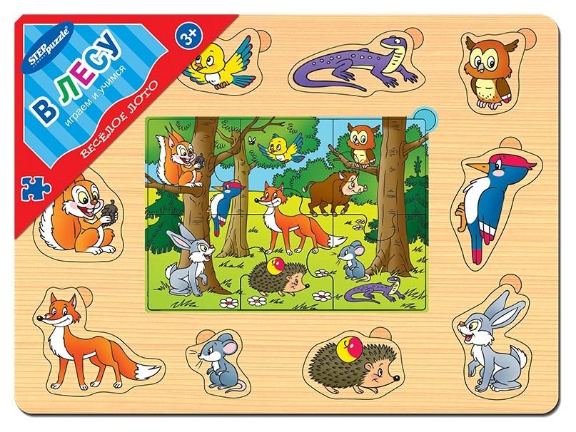 """Игра из дерева """"Весёлое лото: В лесу""""  Step puzzle"""