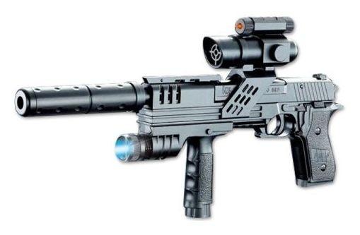 Пистолет с лазерным прицелом, с глушителем и фонарем  Jinle