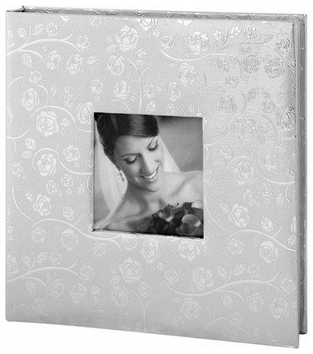 Фотоальбом свадебный, 20 магнитных листов 30х32 см, обложка под фактурную кожу, на кольцах, серебристый  Brauberg