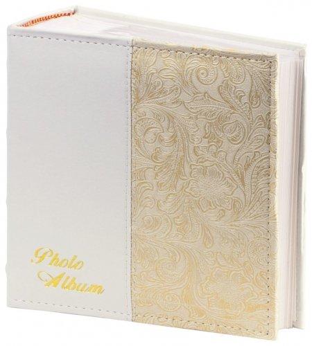 Фотоальбом на 300 фото 10х15 см, под кожу, бумажные страницы, бокс, белый+золото  Brauberg
