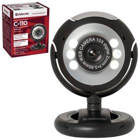 Веб-камера C-110, 0,3 мп, микрофон, Usb 2.0/1.1+3.5 мм Jack, подсветка, регулируемое крепление, черная  Defender
