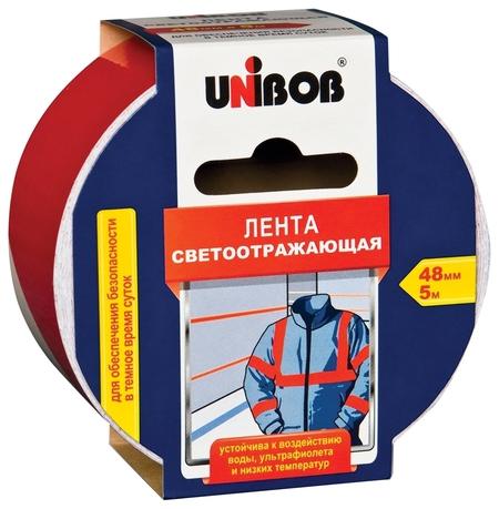 Клейкая лента светоотражающая 48 мм х 5 м, красно-белая, износоустойчивая, европодвес  Unibob