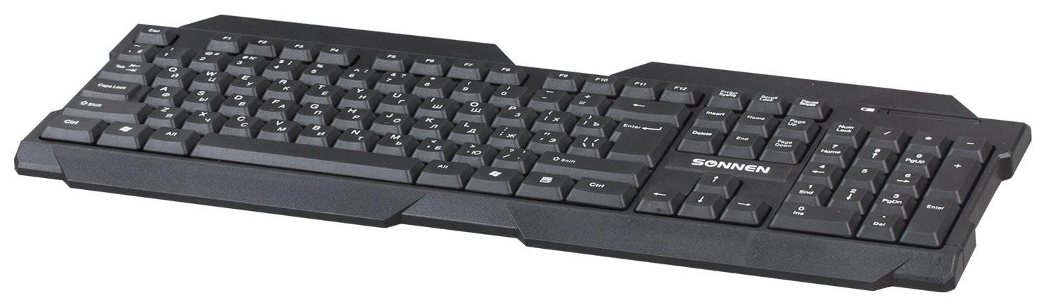 Клавиатура беспроводная Kb-5156, Usb, 104 клавиши, 2,4 Ghz, черная  Sonnen
