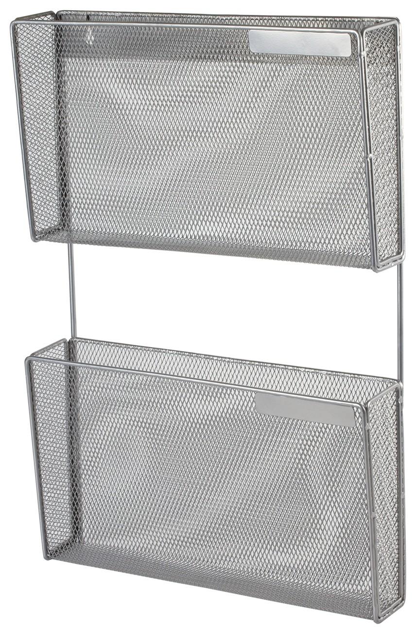 "Настенный блок металлический из 2 лотков формата А4, 500х340х80 мм, серебристый, ""Germanium""  Brauberg"